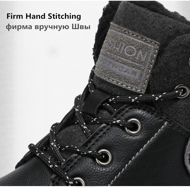 Winter Warm Fur Men's Boots Leather Ankle Boots Waterproof Snow Boots Outdoor Desert Boots Motorcycle boots
