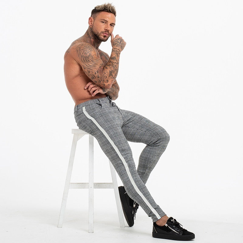 Casual Plaid Pants Men Bottom Streewear Chino Slim Fit Jogger Pants Skinny Sweatpants Trousers Track Pants