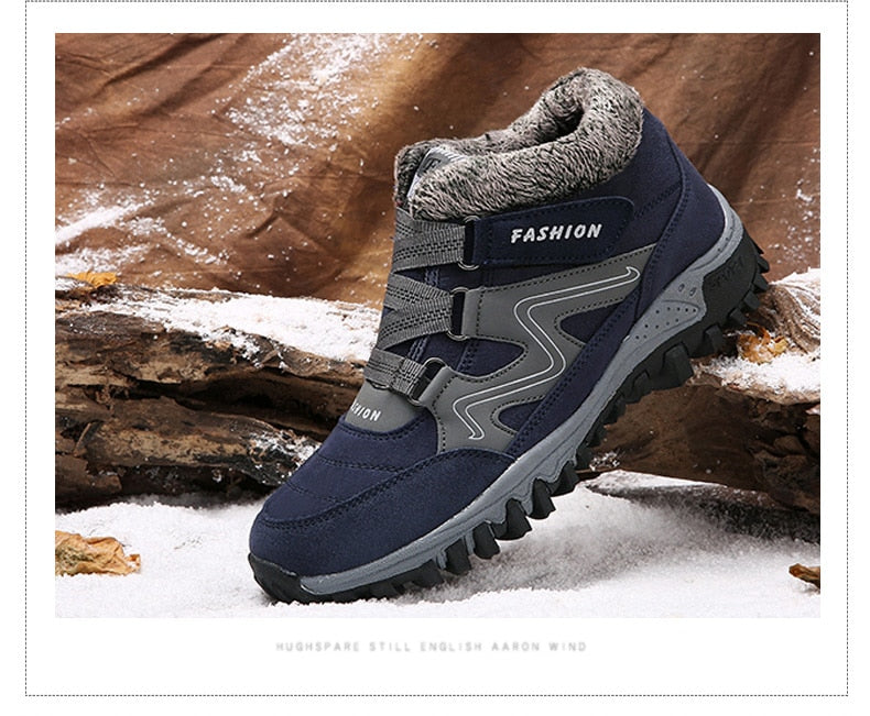 Men Boots Winter With Fur Warm Snow Boots Men Winter Boots Footwear Fashion Safety Ankle Shoes