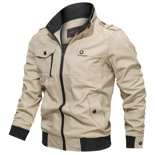 Men Autumn Winter Multi-pocket Zipper Jackets Male Brand Clothing Mens Bomber Jacket