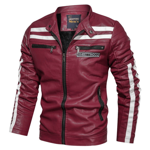Men's Leather Jacket Fashion with Fleece Thicken Motorcycle Jacket Men Slim Style Quality Leather Jacket
