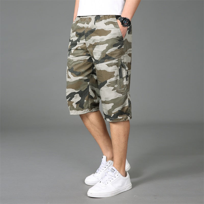 Men's Pants Leisure Cropped Trousers Youth Multi Pocket Camouflage Casual Pants