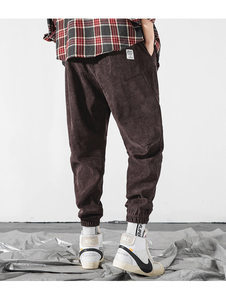 Casual pants autumn and winter new products loose solid color beam foot Harlan sports pants