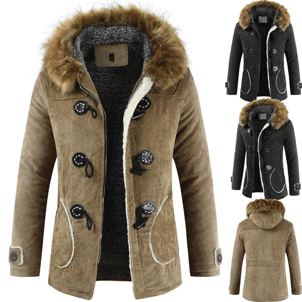 Windproof Coats Men's hooded fur collar cotton quilted plus velvet warm Jackets loose pockets drop ship clothes