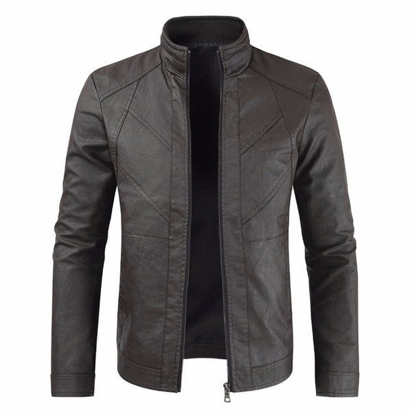 Men Fashion Casual Motorcycle PU Leather Jacket Coat Men Faux Leather Coat Jackets Men