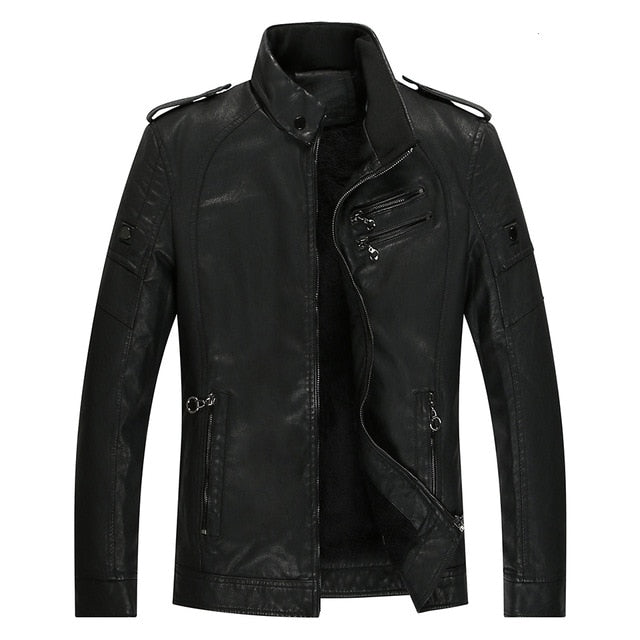 Men New Casual Thick Fleece Pockets Leather Jacket Coat Men PU Leather Motorcycle Vintage Faux Leather Jackets
