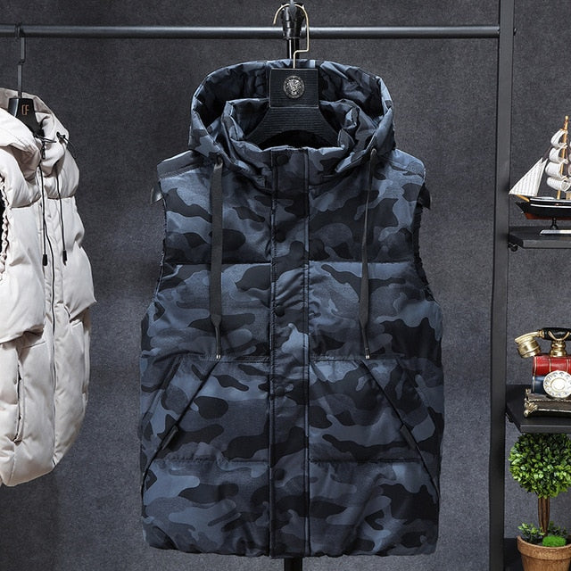 Men Sleeveless Men Thickening  Vest Hat Hooded Warm Vest Winter Waistcoat Men Casual Windbreaker Jacket