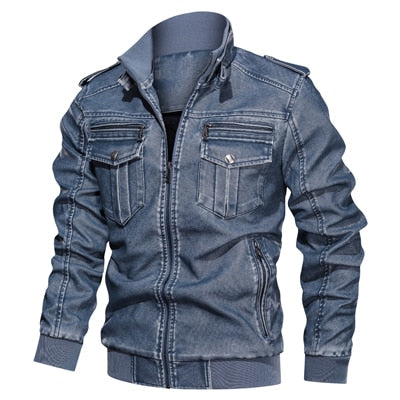 Men Leather Jacket killer Vintage Motorcycle Faux Leather Coat Fashion PU plus size L-6XL Bomber Jacket
