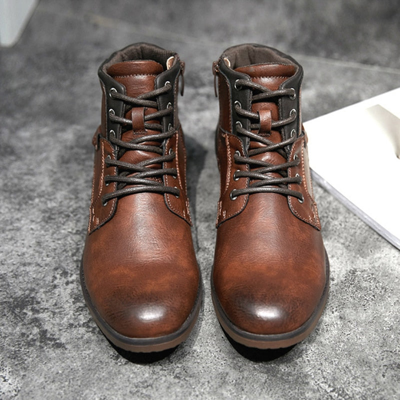 Men Boots Pu Leather Lace-up Men Shoes Top Quality Men Vintage British Military Boots Plus Size  Boots