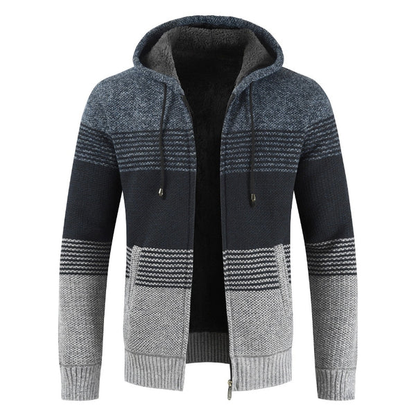 Men Sweater Coat Thick Warm Hooded Cardigan Jumpers Striped Wool Liner Zipper Fleece Coats