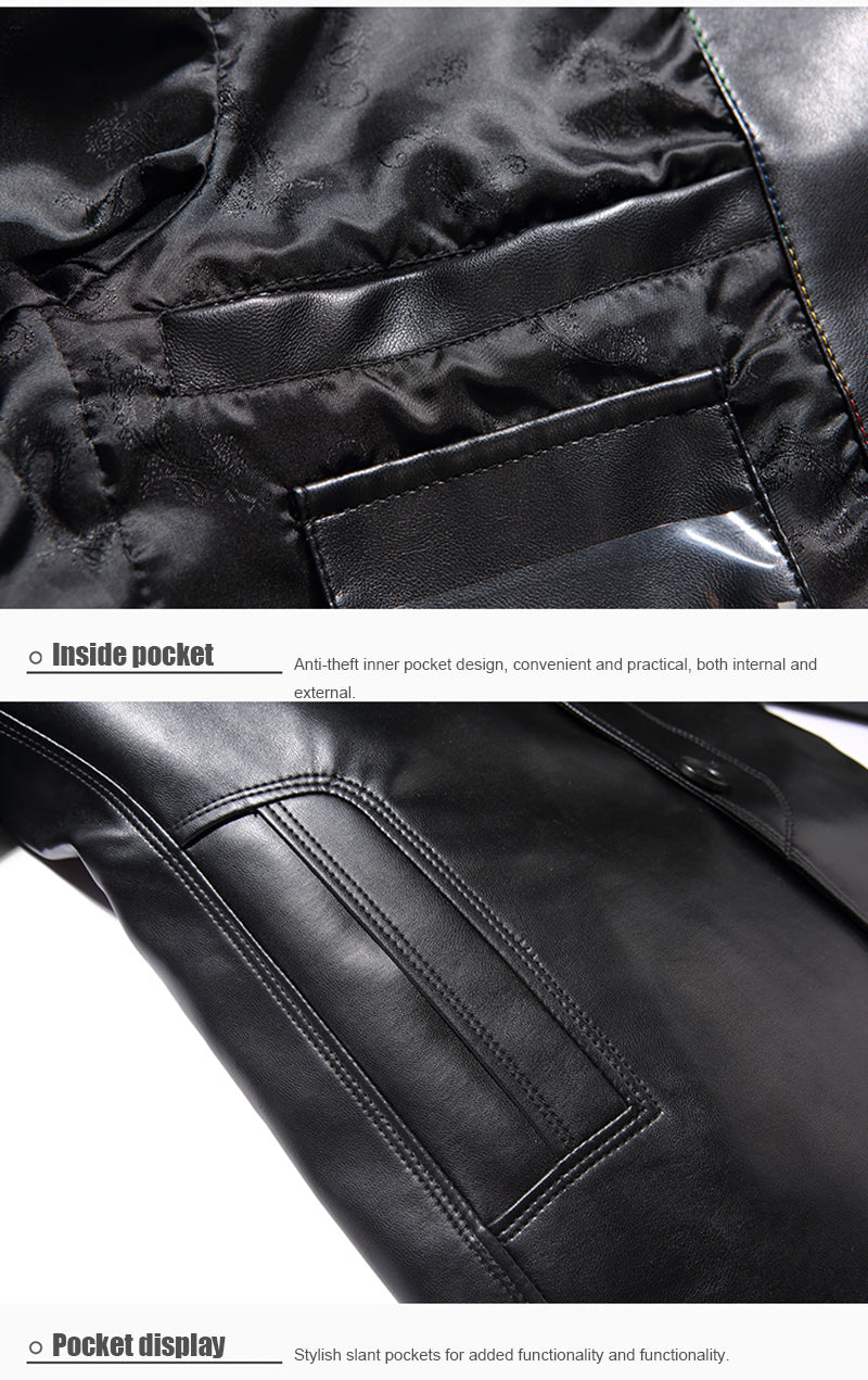 Mens Suit Jacket Men Lapel PU Leather Jacket Male Single Breasted Casual Business Fitness Jackets and Coats