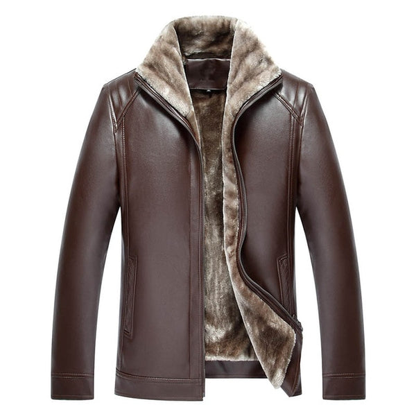 Men's PU Leather Jacket Mens Brand Clothing Thermal Outerwear Winter Fur Male Fleece Leather Down Jackets Coats