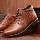 Men's genuine leather shoes winter fretwork plush large size ankle boots pointed toe solid boots