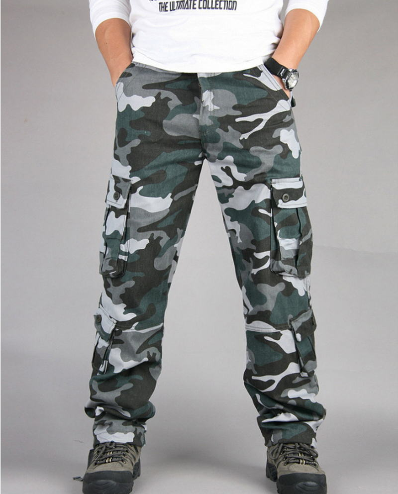 Men Fashion Military Cargo Pants Multi-pockets Baggy Pants Casual Trousers Overalls Camouflage Pants