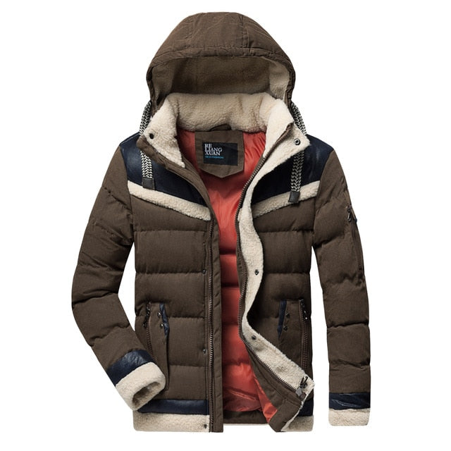 Men Casual Warm Thick Fleece Windproof Jacket Parkas Men New Luxury Outwear Hat Leather Parka Jackets Coat