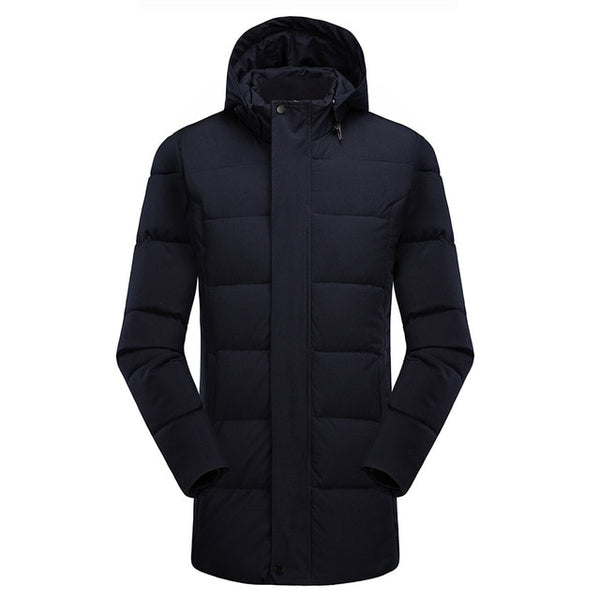 8XL Men Long Casual Hooded Thick Warm Jacket Parkas Coat Fashion Hat WaterProof Overcoats Men Plus Size