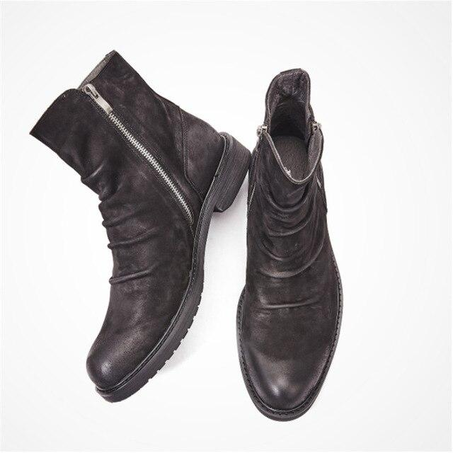 Men Genuine Leather Thick Bottom British Retro Designer Boots High Leather Boots