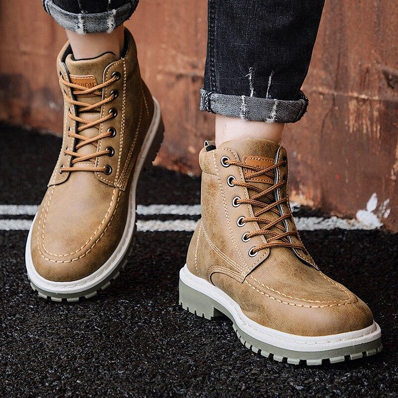 PU Leather Men Boots Winter Waterproof Ankle Boots Riding Boots Outdoor Working Snow Boots Men Shoes