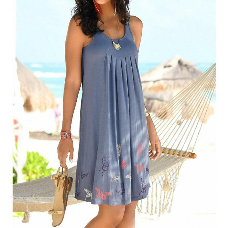 New Summer Women Dress Print Butterfly Sleeveless Dress Casual Loose Beach Dresses