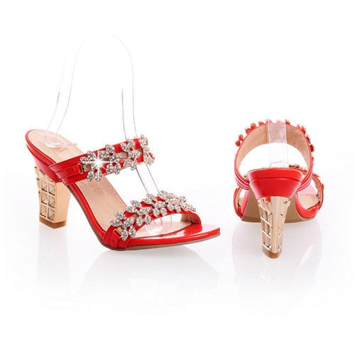 Women Bling Open Toe Sandals Party Chunky High Heels Rhinestone Mule Slides