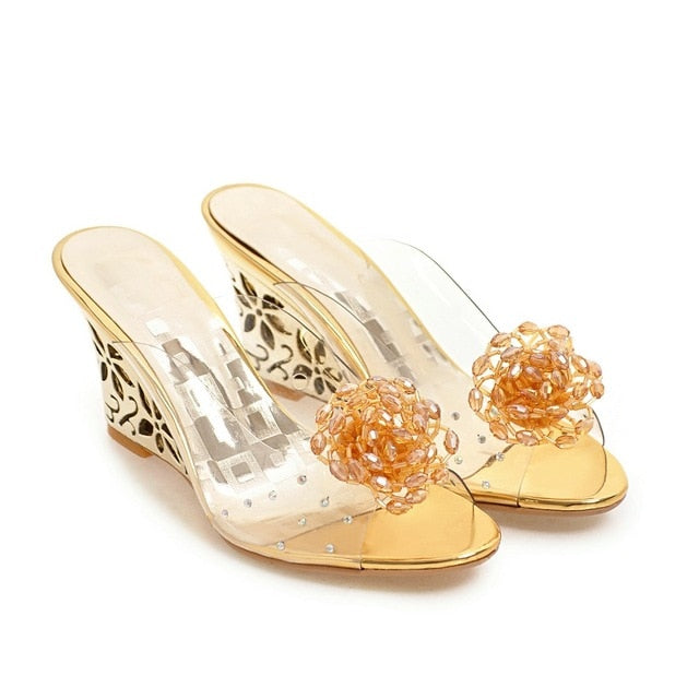 Women Flower Transparent Sandals Slippers High Heels Beading Mules Slides Shoes