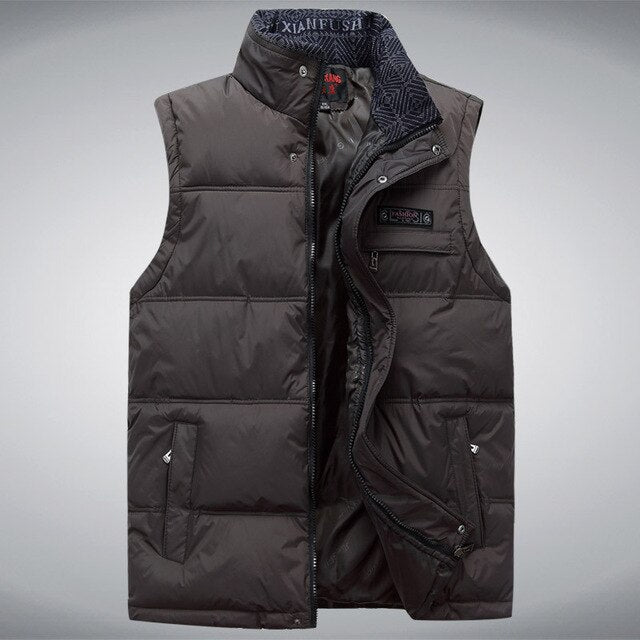 Men's Sleeveless Vest Homme Winter Casual Coats Male Cotton-Padded Men's Warm Vest  Men Waistcoat Plus size 4XL