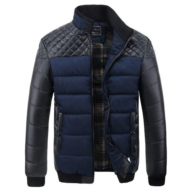Men's Jackets and Coats 4XL PU Patchwork Designer Jackets Men Outerwear Winter Fashion Male Clothing