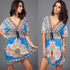 Boho Summer Women Dress Sexy Loose Deep V Neck Dashiki Print Tunic Beach Dresses