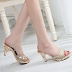 Women Elegant High Heel Mules Slides Thick Heel Rhinestone Sandals