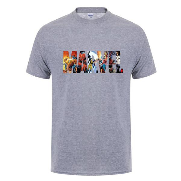Men's MARVEL Short Sleeve T-shirt Superhero Print O-neck Tee Tops