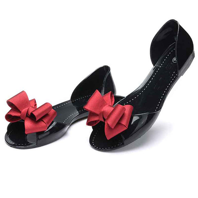 Women Flat Sandals Beach Jelly Shoes Bowtie Outdoor Slippers Slip On Shoes