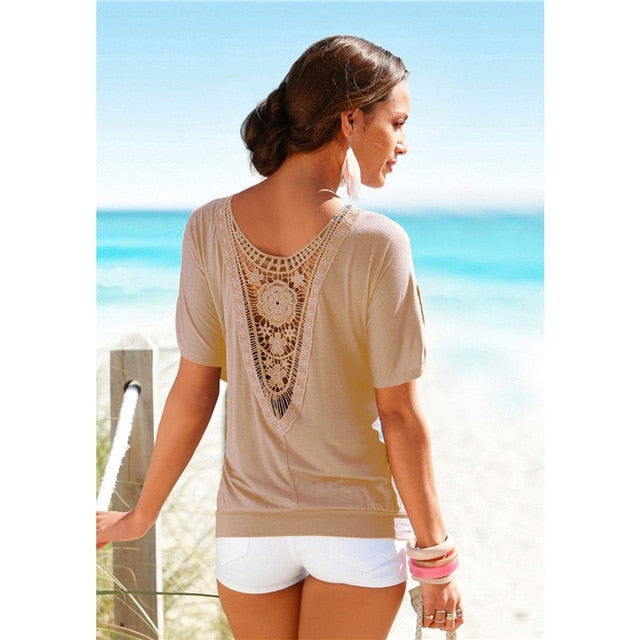 Plus Size Fashion Women Casual 0-Neck Top Tee Vintage Female Clothing Lace T-Shirt