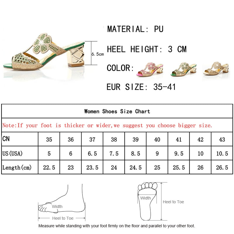 Women High Heels Slipper Peep Toe Hollow Out Crystals Slip On Beach Flip Flops Sandals