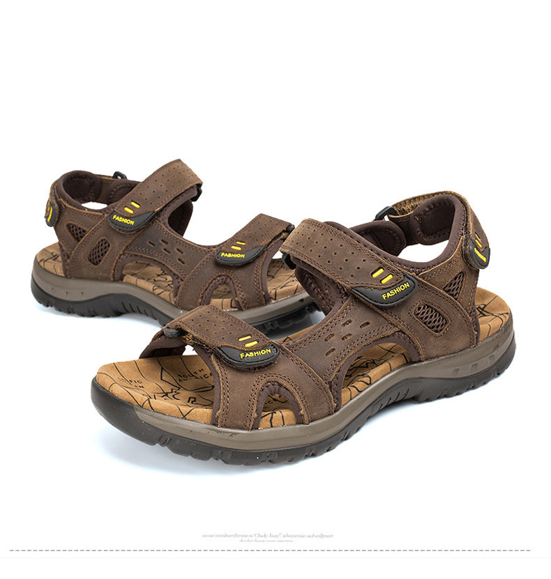 Summer Men's Leisure Beach Sandals PU Leather Big Size Sandal Shoes