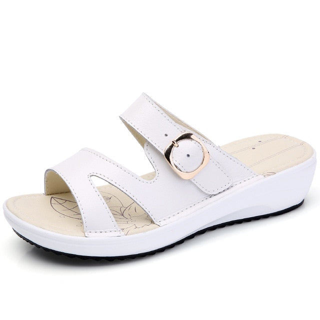 Women Leather Flat Sandals Low Heel Wedges Summer Open Toe Platform Sandals