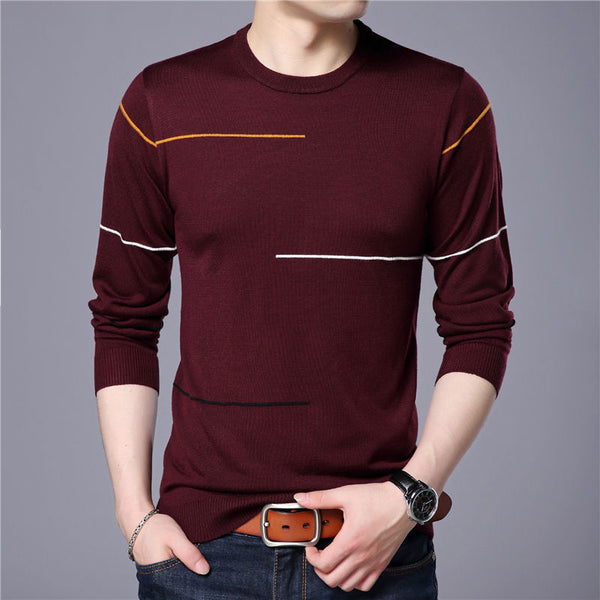 Wool Sweater Men Brand Clothing Slim Warm Sweaters O-Neck Pullover