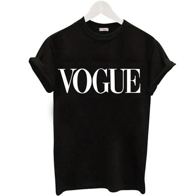 Women Fashion VOGUE Printed T-shirt Woman Tee Tops Casual T-shirts