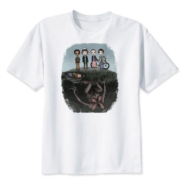 Corachic.com - Stranger Things Print White Men's O-neck T-shirt Tee Tops