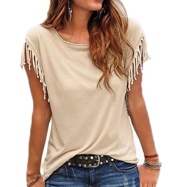 Corachic.com - Women Cotton Tassel Casual T-shirt Solid Color Tees Short Sleeve O-neck Tops