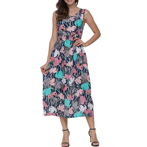 Women Floral Print Sleeveless Summer Dress High Waist Casual Long Bohemian Dress
