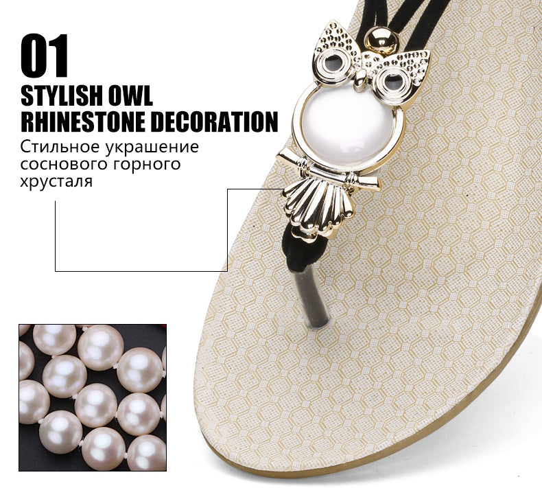 Women Hot Elastic T-strap Bohemia Beaded Owl Slipper Flat Flip Flop Sandals