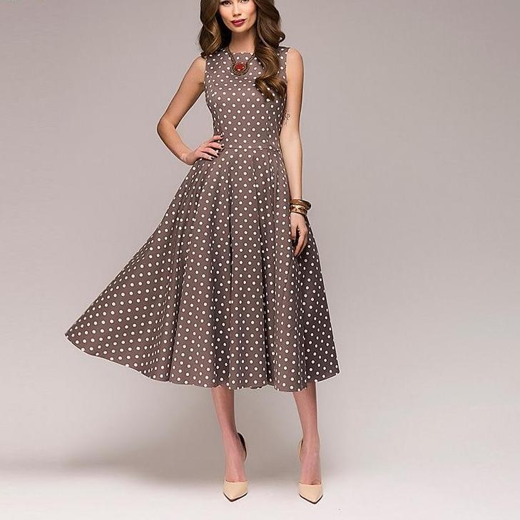 Corachic.com - Sleeveless O-neck Women Elegant Thin Dot Printing Mid-Calf Casual Vintage Dress