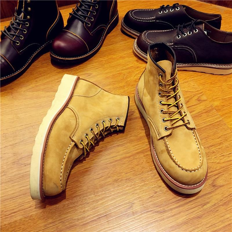 Vintage Men Boots Lace-Up Genuine Leather Boots Wing Men Handmade Work Travel Wedding Ankle Boots Casual Boots