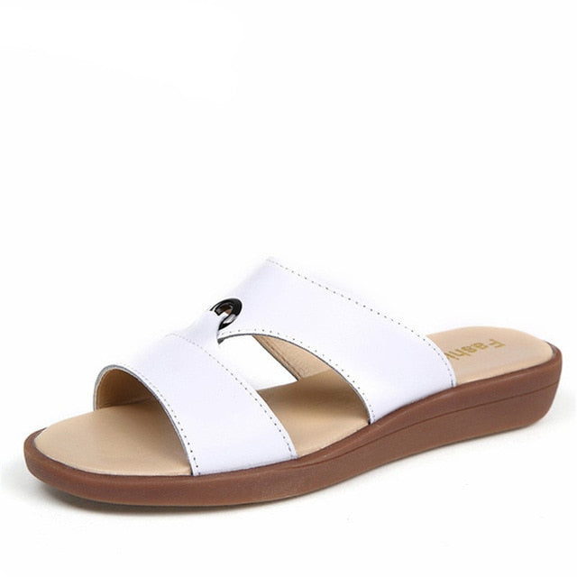 Real Cow Leather Women Flats Sandals Slip-On Summer Beach Flip Flops Sandals