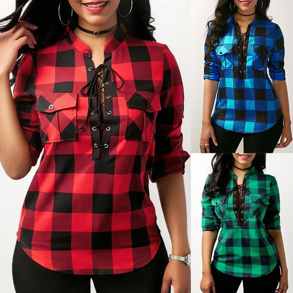 Women Plaid Shirts Long Sleeve Blouses Cotton Lace Up Tunic Casual Tops Plus Size