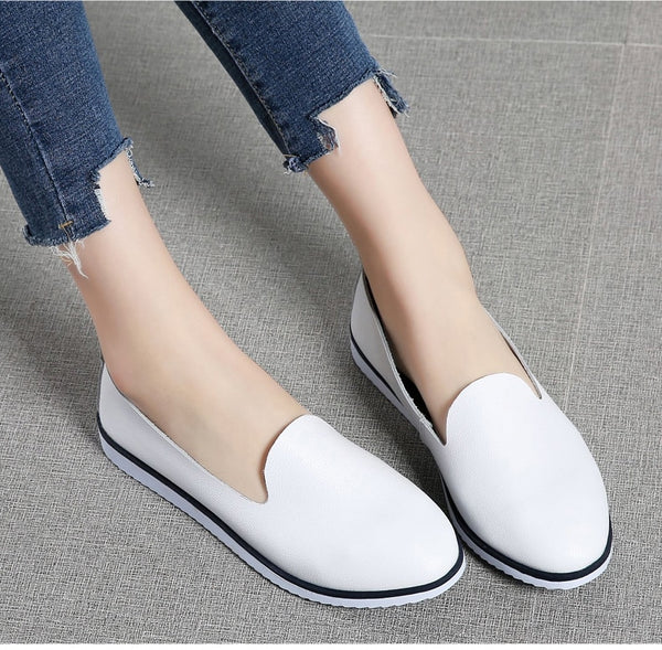 Corachic.com - Women Ballet Flats Shoes Genuine Leather Slip on Shallow Moccasins Flats Shoes