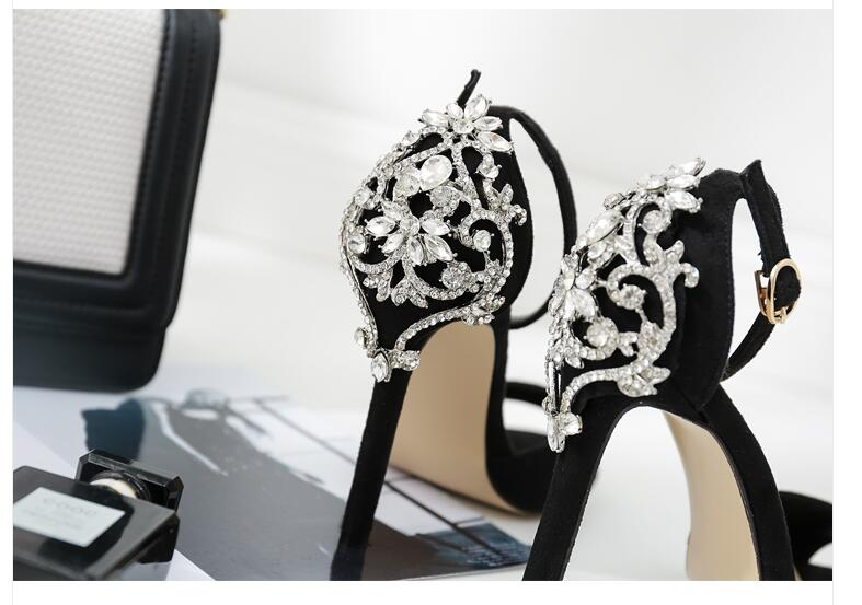 Women Rhinestone Stiletto Heeled Sandal Crystal Thin Heels Ankle Strap Shoes