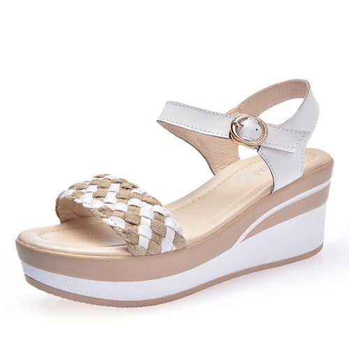 Women Wedge Platform Leather Buckle Sandals High Heels Weave Strap Sandals