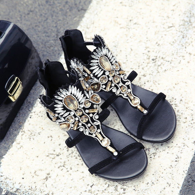 Rhinestone Luxury Diamond Roma Sandal Buckle Strap Flat Sandals