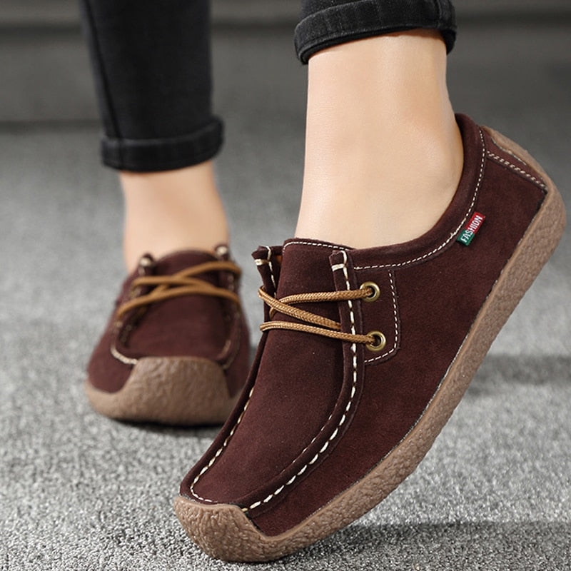 Women PU Leather Loafers Lace Up Folding Moccasins Foldable Casual Flats Shoes
